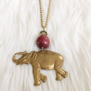 Worn Gold Elephant Pendant Necklace